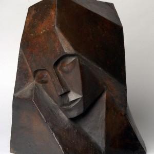 Kubistische vrouwenkop-brons -1911 Otto van Rees