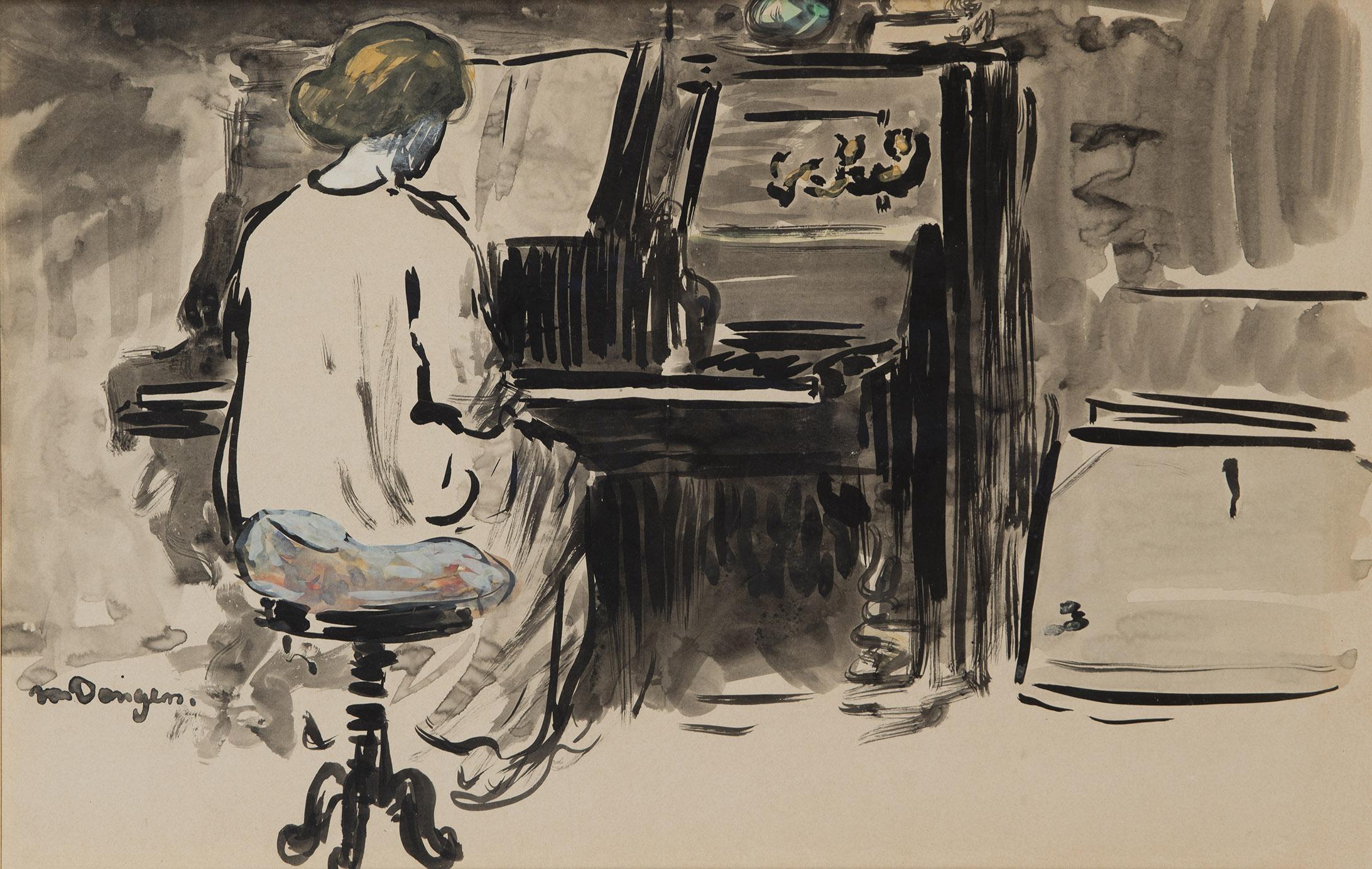 KEES VAN DONGEN Adya au piano au Bateau Lavoir tussen dec.1904-april 1905 Aquarel en inkt op papier  37,4 x 60 cm L.O. gesigneerd: van Dongen